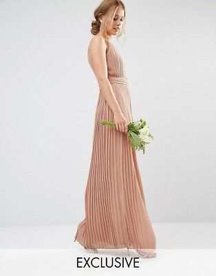3d84b556124 ASOS TFNC London Nude Pleated Maxi Dress Halter NWOT Size 6