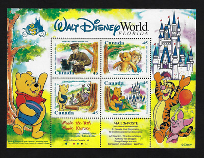 Canada Stamps — Souvenir sheet of 4 — Walt Disney, Winnie The Pooh #1621b — MNH
