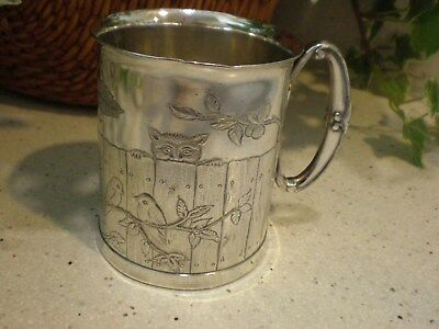 Victorian Reed Barton Silverplate Charming Youth Cup with Cat & Birds