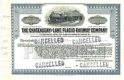 Chateaugay and Lake Placid Railway Company. Stock Certificate. New York
