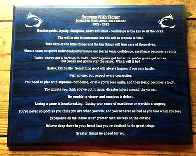 Laser Engraved gift - Penn State Joe Paterno famous sayings - motivational