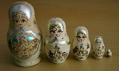 Vintage Wood Burned Russian Nesting Dolls Pyrography St Petersburg Church USSR