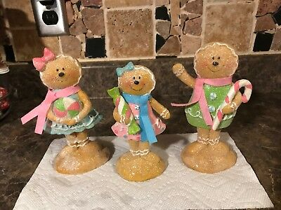New Sold Out Set Of 3 Sugared Gingerbread Boy Girl Pastel Sugared Resin Figures