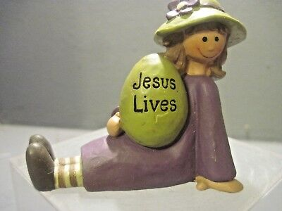 Blossom Bucket Girl Shelf Sitter Has Easter Egg With Jesus Lives On It