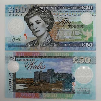 Welsh 2017 Princess Diana Test Commercial Note 50 Pounds UNC