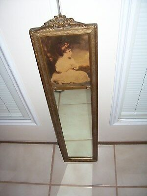 """Antique mirror with portrait picture photo of child girl 6"""" x 28"""""""