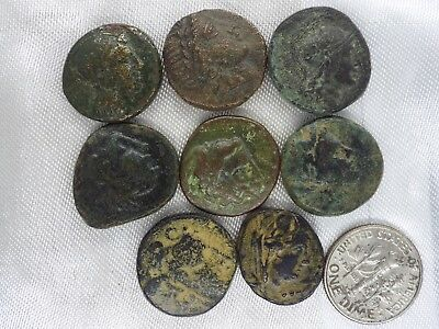 33m-1 LOT of 8pcs.ANCIENT Greek Bronze coins from 300 BC -100 AD