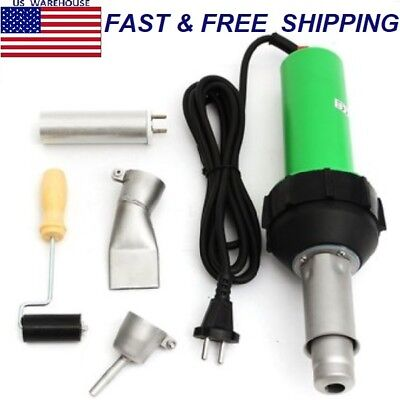 1600W Hot Air Torch Plastic Welder Welding Heat Gun Pistol Kit w/ Nozzle +Roller