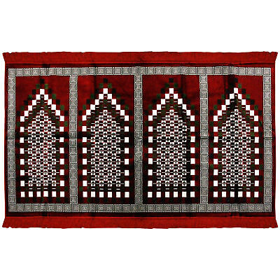 Four Person Red Greek Key and Square Design Family Size Turkish Prayer Rug