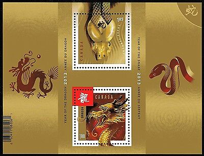Canada Stamps -Souvenir Sheet - Lunar New Year of The Snake / Dragon #2600a -MNH