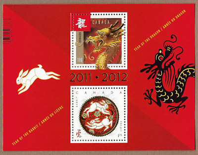 Canada Stamps -Souvenir Sheet -Lunar New Year of The Dragon / Rubbit #2496a -MNH