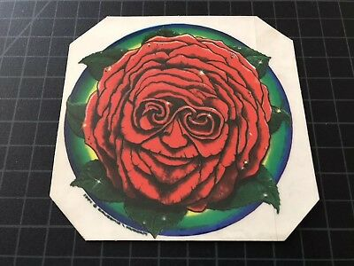 The Grateful Dead Jerry Garcia Band JGB RED ROSE FACE window decal sticker 1989