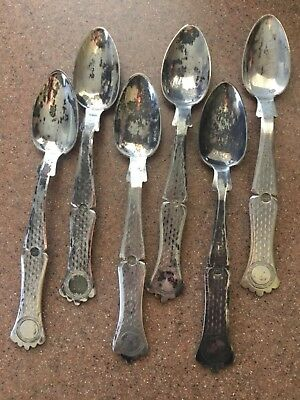antique ottoman turkish 6@ silver spoons with tugrah