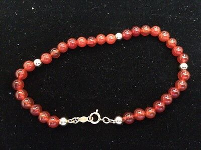 Beautiful 14K Gold and Red Carnelian Bead Stone Bracelet Very Classy LOOK G19-SR
