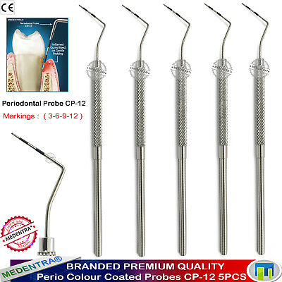 Perio Probes Periodontal Scalers Pocket Depths CP-12 Marking Color Coated 5PCS