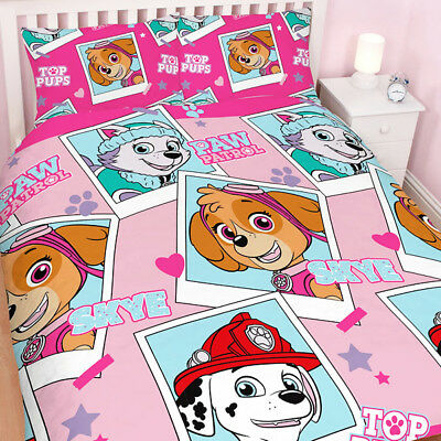 Paw Patrol Star Reversible Double Duvet Cover Set Girls Xmas Gift New