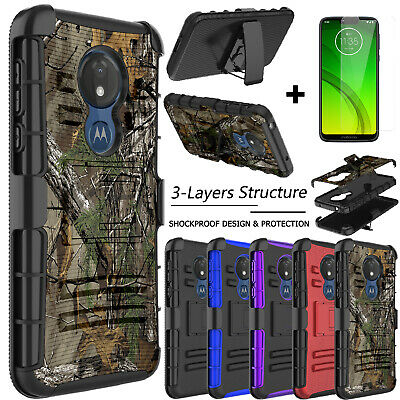 For Motorola Moto G6 Play Case Shockproof Hard Belt Stand Cover+Screen Protector