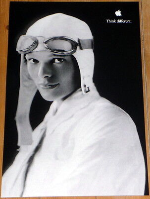 """AMELIA EARHART * APPLE poster * THINK DIFFERENT * 17""""/11"""" * mint * STEVE JOBS"""