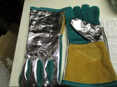 Bennet leather hr aluminised welding/metalwork gauntlets,size 8/9,ce0120,rrp £40