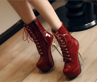 Sexy Womens Patent leather Super High Heel Lace Up Platform Ankle Boots Shoes