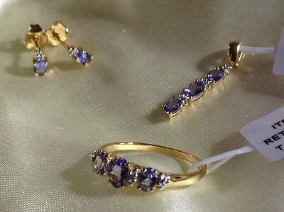 Set Of, Tanzanite Ring, Earrings, Pendant, Gold On Sterling Silver, Size P