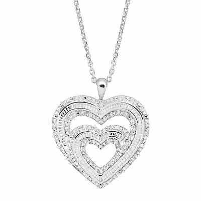 1 ct Diamond Double Heart Pendant in Sterling Silver