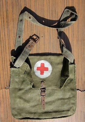 Antique Wwii Ww2 German Trench Field First Aid Medical Doctors Bag Red Cross