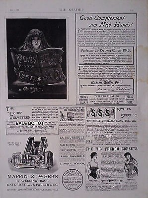 "1888 ADVERT PEARS SOAP-THE SWIFT SPECIFIC Co-THE ""IC"" FRENCH CORSETS-BORAX SOAP"