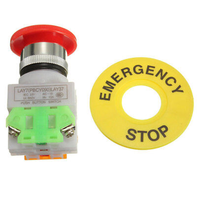 AM_ Red Mushroom Cap Emergency Stop Shut Off Switch Push Button E-stop Switch Se