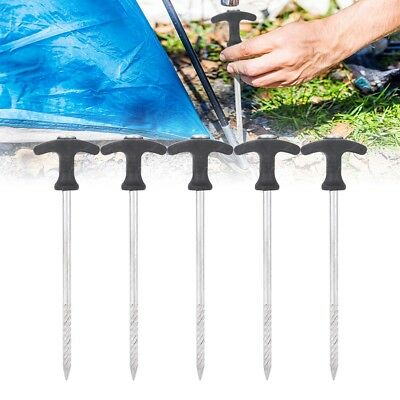 5Pcs Camping Tent Stakes Pegs Tent Nails Spiral Screw for Frozen Soil Sand Ice