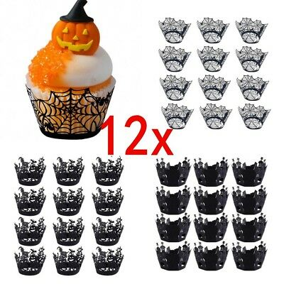 12Pcs/set Halloween Spider Cupcake Wrappers Paper Cake Topper Favor Party Decor