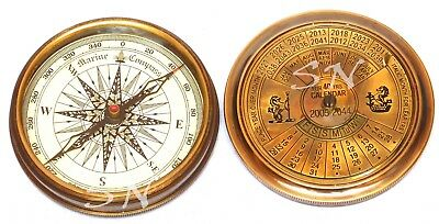 Vintage Brass Nautical Antique Marine Compass 40YRS Calendar Collectibles