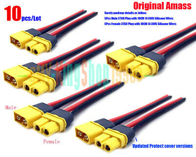 10pcs/Lot Updated AMASS XT60 Male/Female Battery Plug with 10CM 14awg Silicone