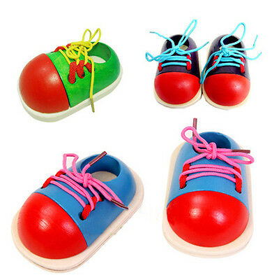 Childrens Wooden Threading Shoe Learn To Tie Laces Educational Toy Game A!