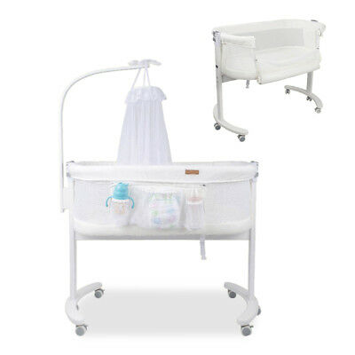 Bedside Newborn Baby Bassinet Cot Crib Sleeper Bed w/ Mosquito Net Canopy