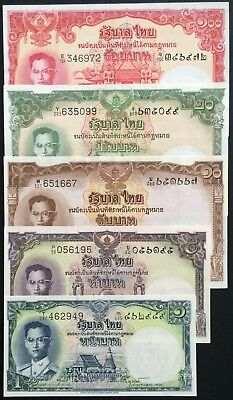 Thailand Banknote 1-5-10-20-100 Baht King Rama IX (1955) Series 9 Complete Set.
