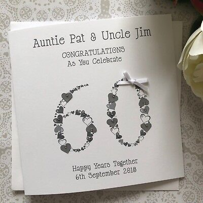 Handmade Personalised 60th Diamond Wedding Anniversary Card Mum Dad Nan Grandad
