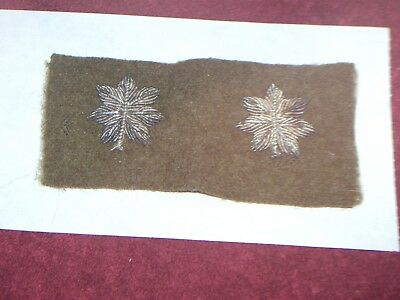 2 Orig. Ww I  Silver Bullion Brown Wool Lt. Colonel Officer's  Rank Patches
