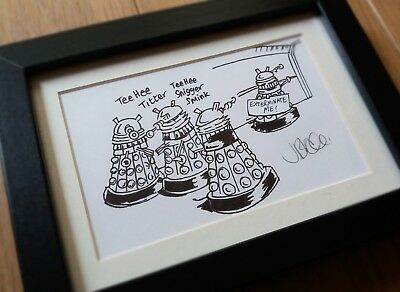 Doctor Who Dalek Framed Illustration 'Exterminate Me' Hand-drawn Original