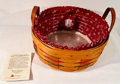 """1991 Longaberger 10"""" DARNING Basket w/  Red Fabric Liner Protector Product Card"""