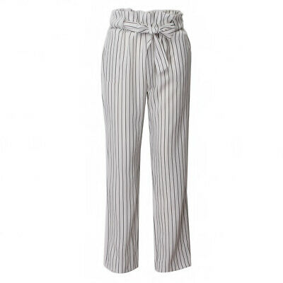 Womens High Waist Paperbag Cigaratte Striped Trousers Ladies Pants one