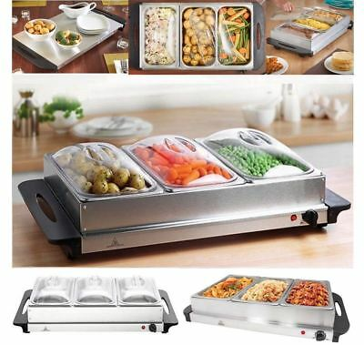 Food Warmer Buffet Server Hot Plate 3 Tray Adjustable Temperature 300W