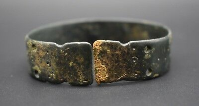 Ancient Bactrian bronze decorated bracelet C. 500 BC