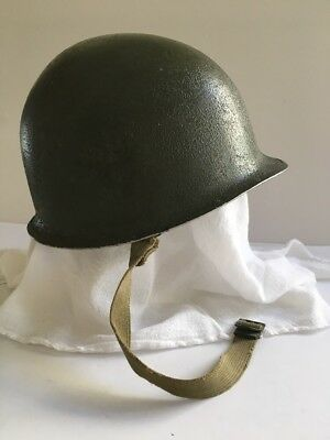 WWII Fixed Bale Front Seam Shell/Helmet w/ original straps, WW2 US Army Helmet