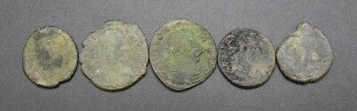 Group of 5 ancient Roman bronze coins 1st - 3rd century AD