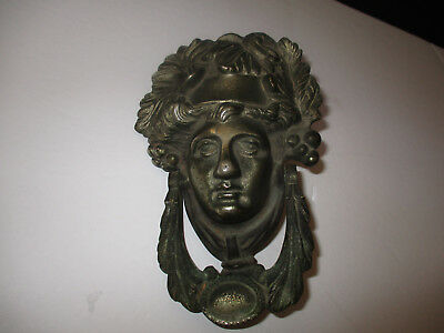 Antique / Vintage  Cast Iron Figural Head Door Knocker --Roman or Greek Figure