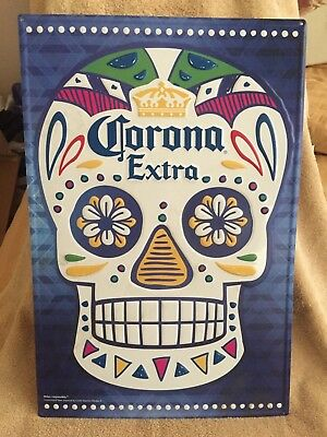 CORONA EXTRA BEER DAY OF THE DEAD SUGAR SKULL SIGN - 24' x 16' - MAN CAVE MUST!