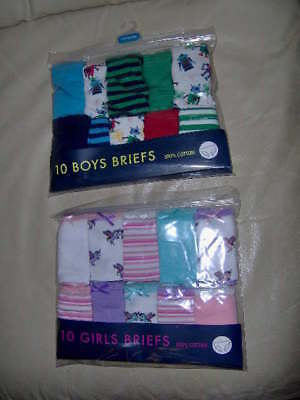 10 PACK BOYS ROBOT or GIRLS UNICORN BRIEFS   - AGES 2/3 - 3/4 - 5/6 - 7/8 YRS