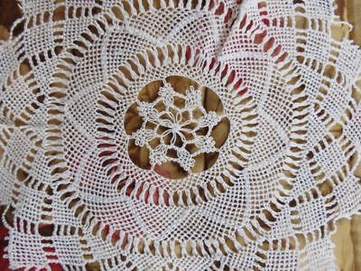 "4 SET Antique Vtg True ARMENIAN LACE DOILY Elaborate 6"" Needle Knotted round LOT"