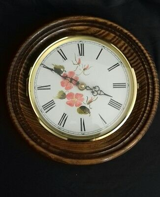 Vintage Round Wall Clock Wood Surround Junghams